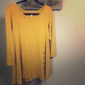 Tops - Mustard asymmetrical button boutique shirt